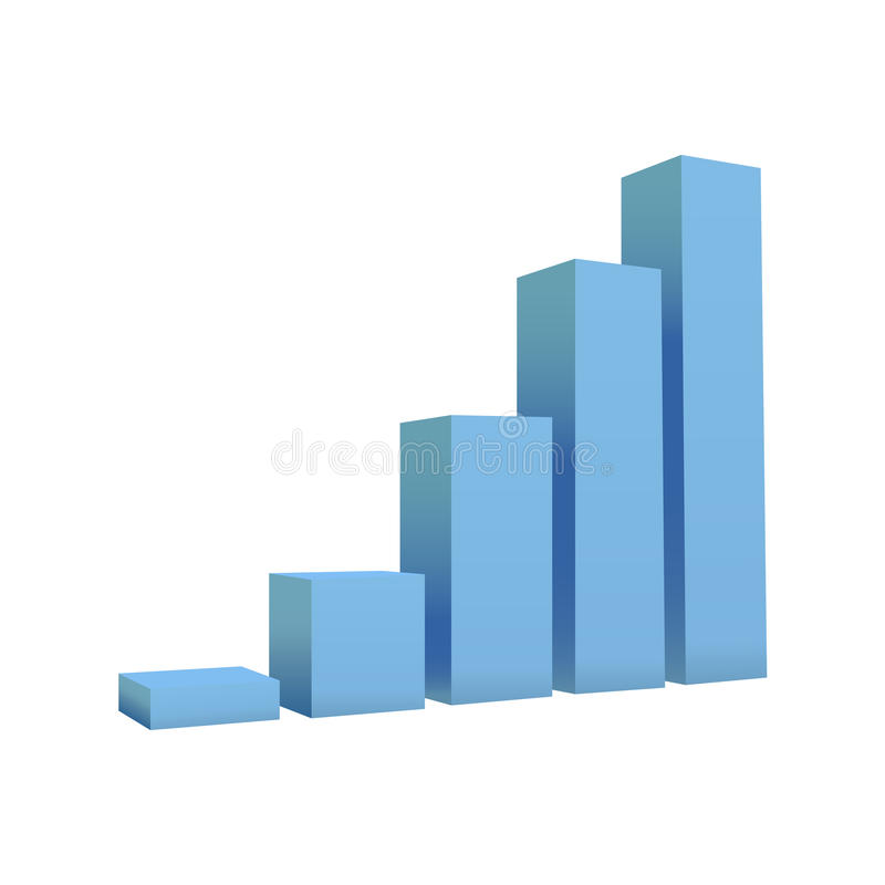 Vector bar chart isolated on white background stock illustration