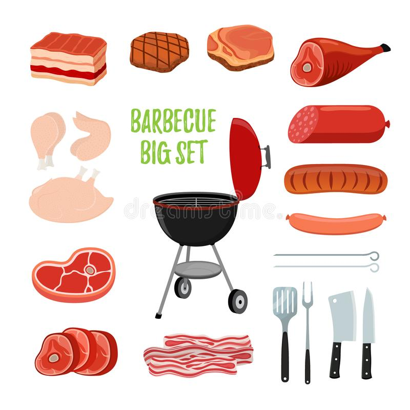 Vector barbecue set - different meat, bbq stand. Cartoon flat style. Vector barbecue set - different meat - chicken, ham, sausage, bacon, sirloin, bbq stand stock illustration
