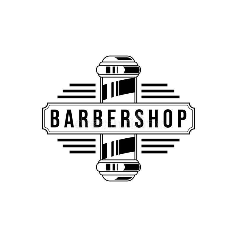 Vector Barber shop vintage logo isolated on a white background stock illustration