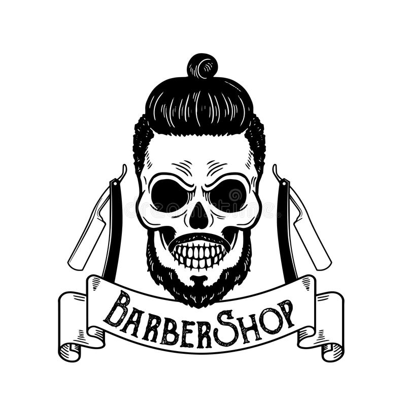 Vector Barbershop emblem, barbershop logo or badge for barber shop signboard, posters Skull with blades and hipster. Beard Man haircut vector illustration