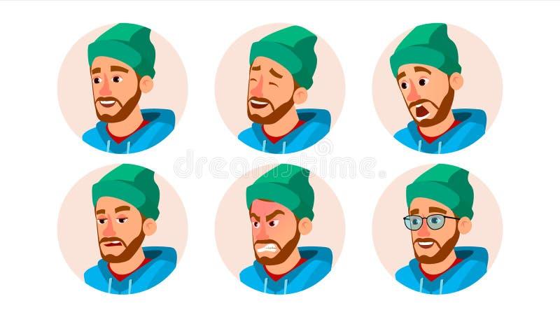 Vector barbudo de Avatar del hombre De Avatar del carácter hombres de negocios Casquillo, sombrero Emociones de la cara fijadas H ilustración del vector