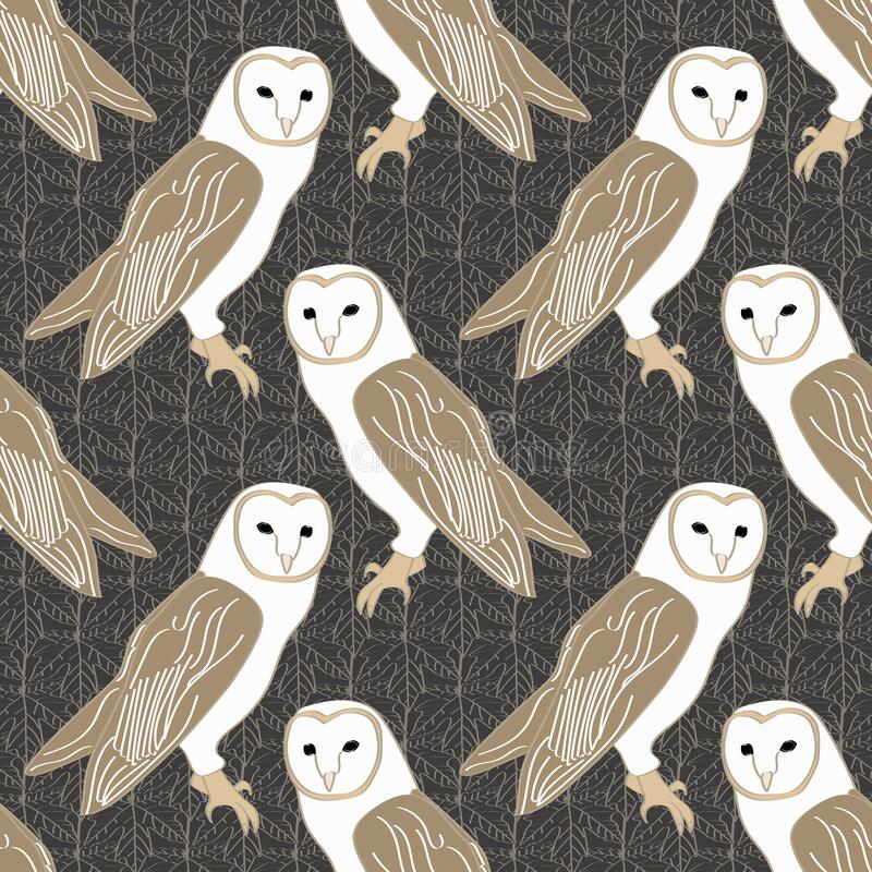 Vector Barn Owls On Brown Background Seamless Repeat ...