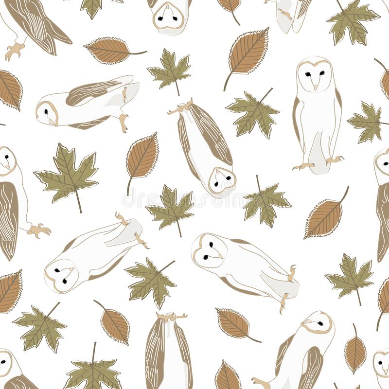 Vector Barn Owls with Brown and Green Leaves on White Background Seamless Repeat Pattern 纺织品、纸牌的背景 向量例证