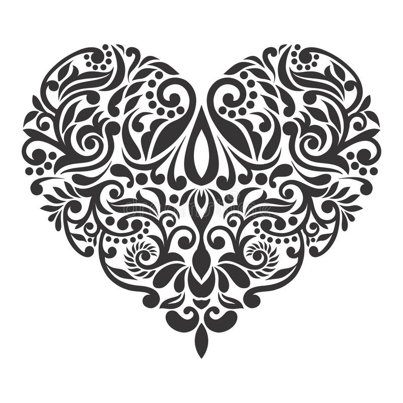 Vector baroque isolated heart white background stock photos