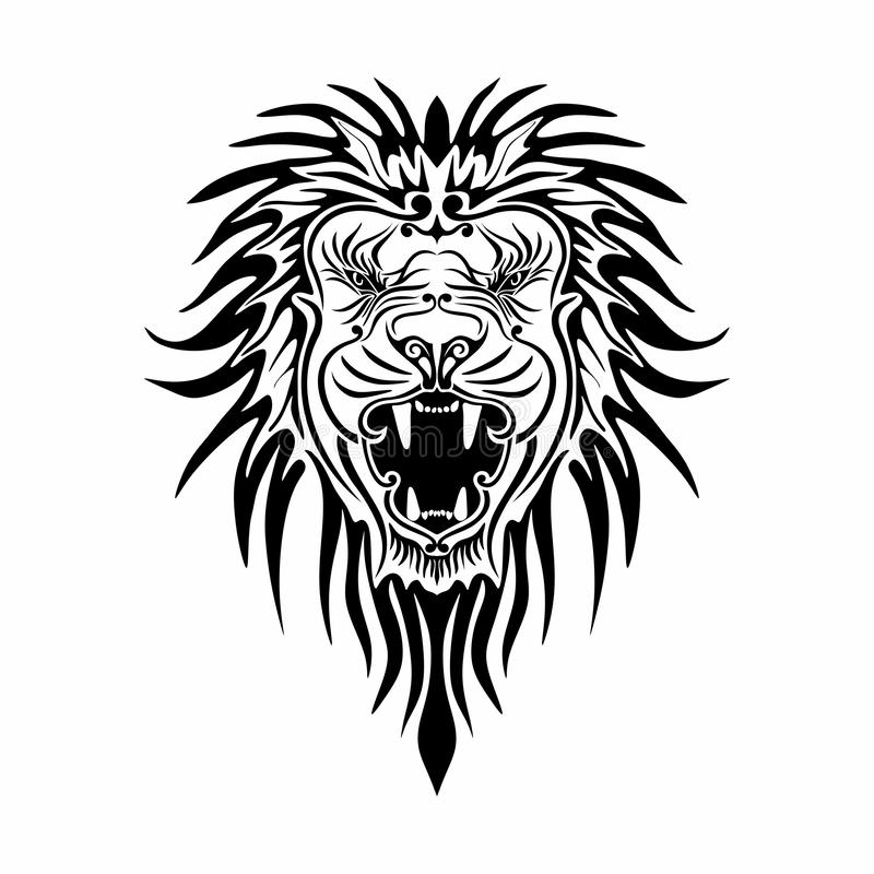 Vector baroque lion in white background stock image
