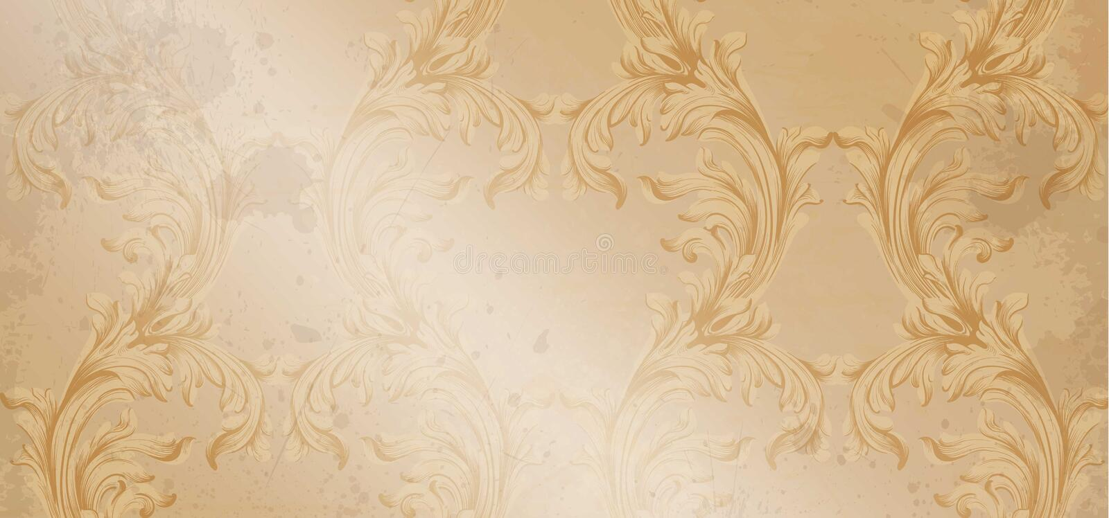 Vector Baroque Ornament Pattern. Old Paper Glossy Background ...
