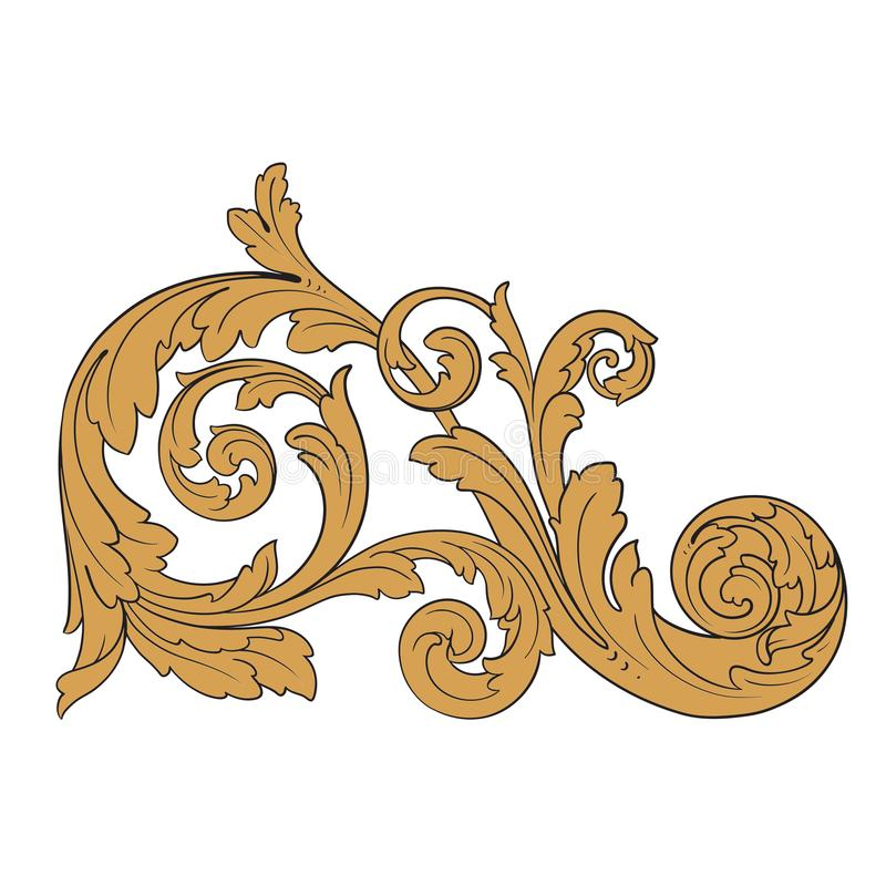 Antique Scroll Line: Vector Baroque Ornament In Victorian Style Stock Vector