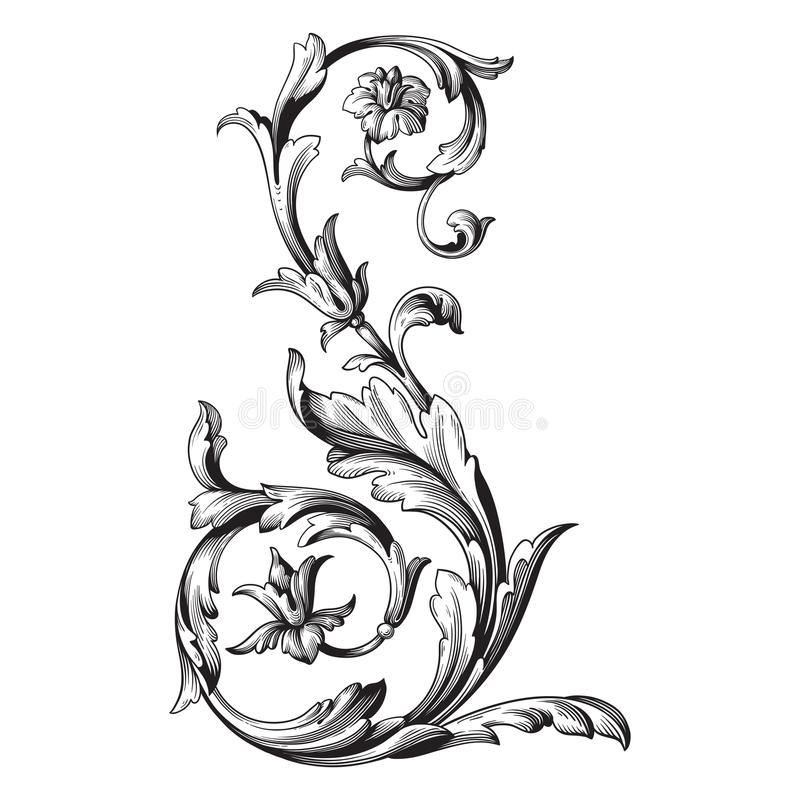 Vector baroque ornament in victorian style stock illustration