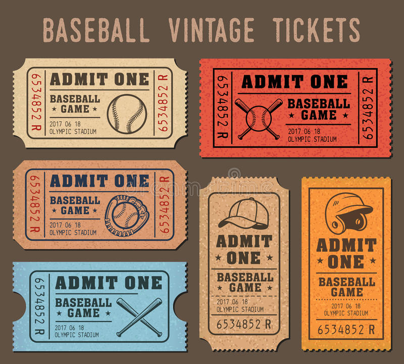 Free Vector Baseball Invite Tickets Royalty Free Stock Photography - 79290257
