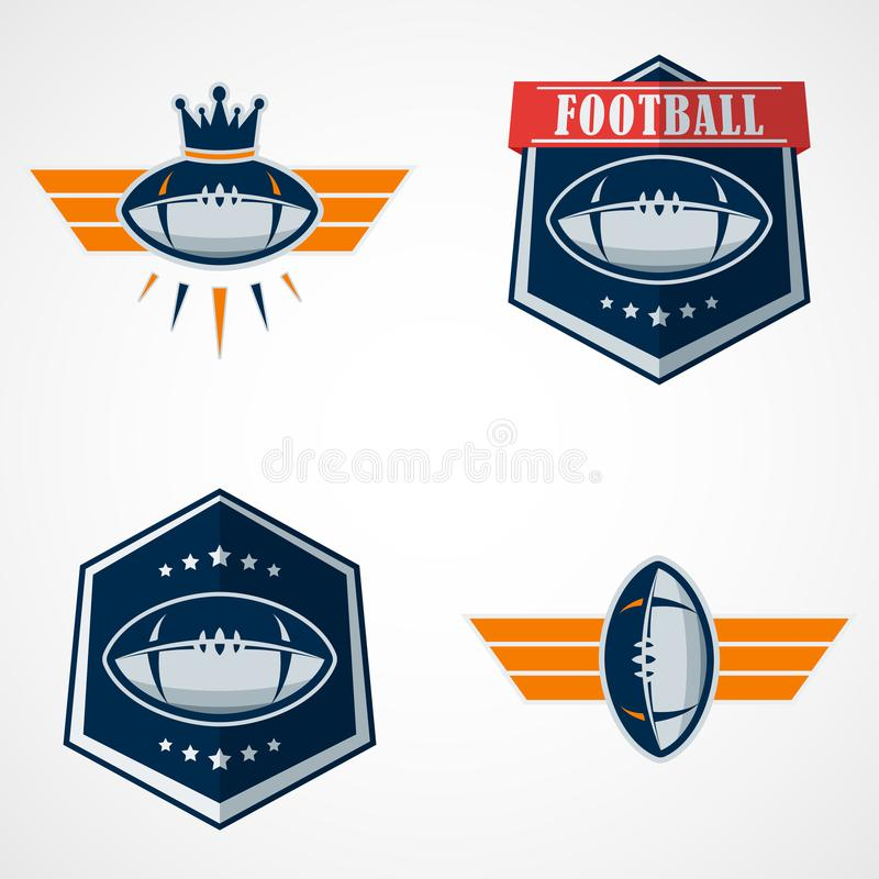 Set of American Football Logo Template. Vector College Logos Ill. This is Vector based - American Football Logo Set that can be scale to any size without losing royalty free illustration
