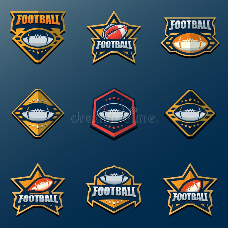 Set of American Football Logo Template. Vector College Logos Ill. This is Vector based - American Football Logo Set that can be scale to any size without losing stock illustration