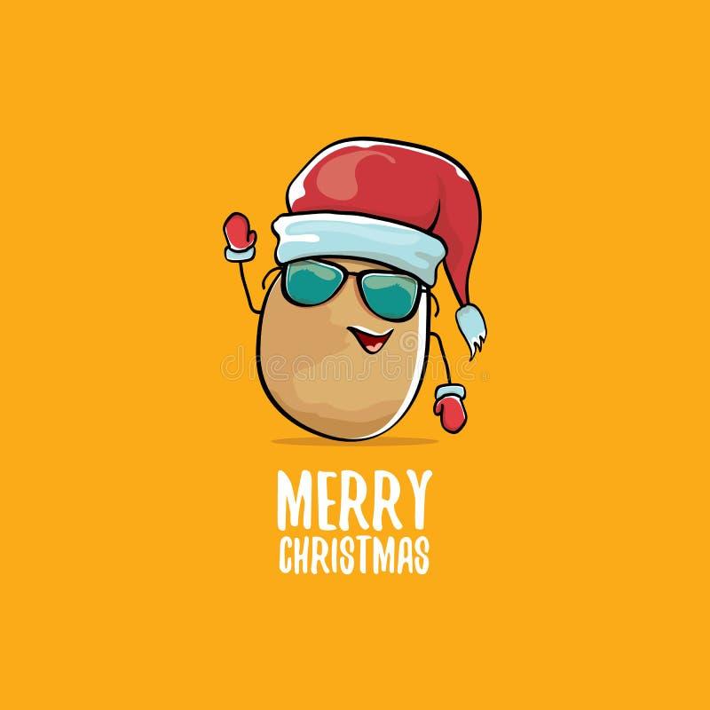 Vector a batata de sorriso marrom bonito de Papai Noel dos desenhos animados cômicos funky com o chapéu vermelho de Santa e Feliz ilustração do vetor