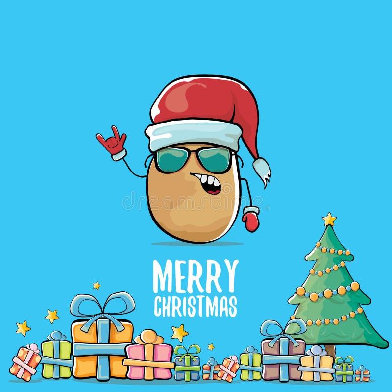 Vector a batata de sorriso marrom bonito de Papai Noel dos desenhos animados cômicos funky com o chapéu vermelho de Santa, os pre ilustração stock