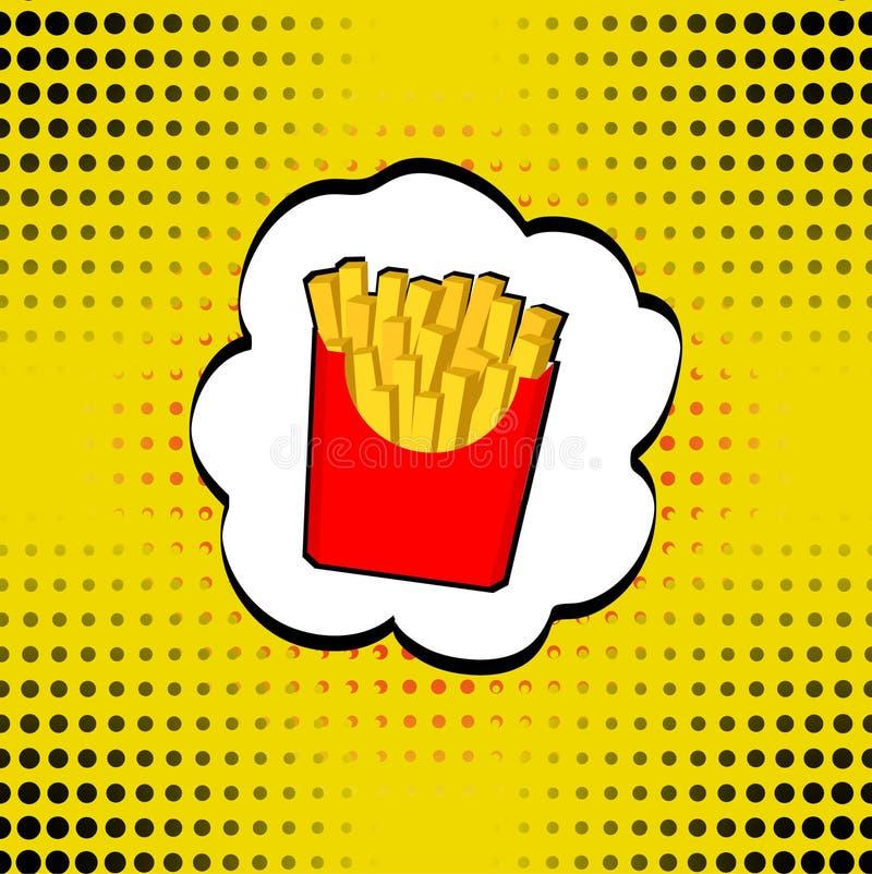 Vector batatas fritas na caixa de papel vermelha, fritadas CI do fast food do pop art ilustração do vetor