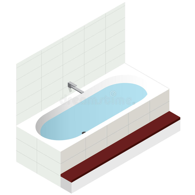 Vector bath tub, isometric perspective. Modern bathtub filled with water. Vector bath tub in isometric perspective. Modern bathtub filled with water. Isolated stock illustration