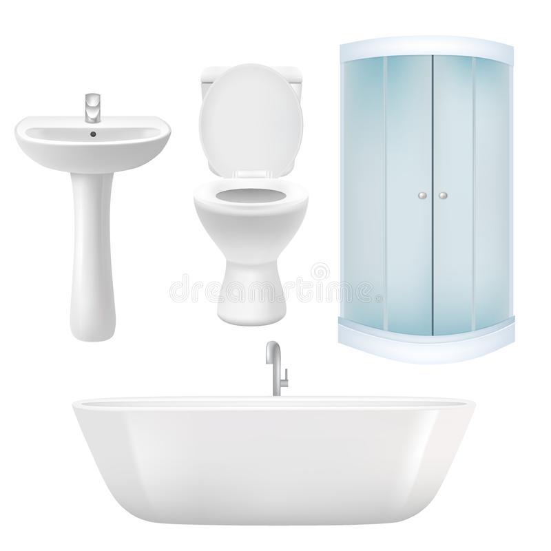 Vector realistic bathroom icon set stock illustration
