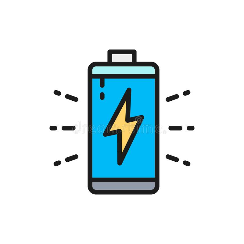 Vector battery, accumulator charging flat color line icon. Symbol and sign illustration design. Isolated on white background vector illustration