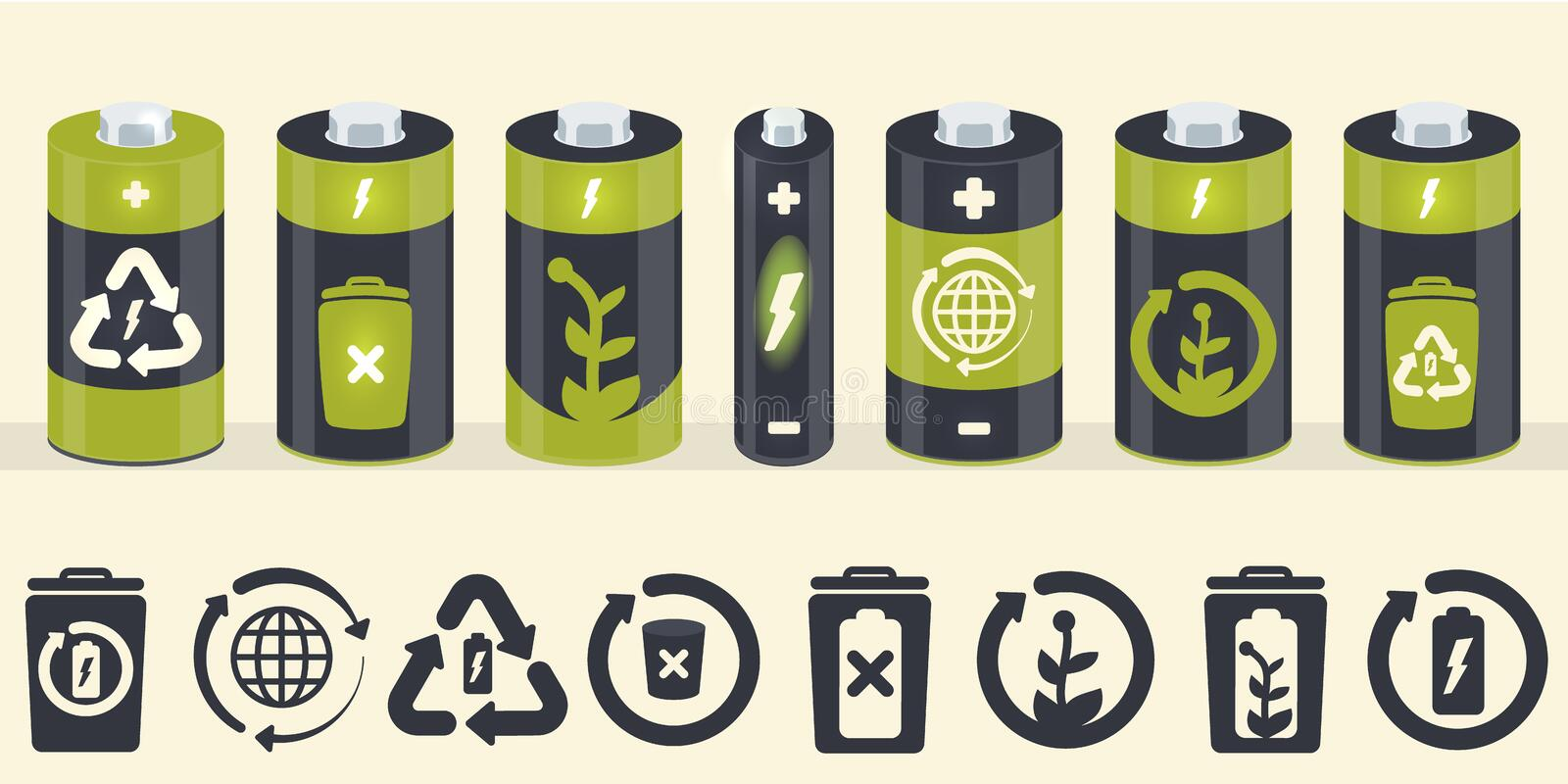 Vector battery cylinder elements. Eco icons set royalty free stock photos