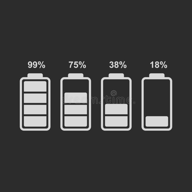 Set of battery level indicator icons. Vector battery icon isolated on black background. Simple battery icons with percentages of charge level royalty free illustration