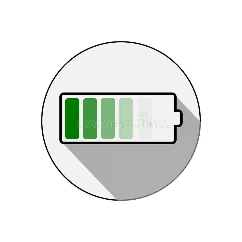 Vector battery icon. Accumulator battery charge energy icon. Vector illustration. Vector battery icon.  Accumulator battery charge energy icon stock illustration