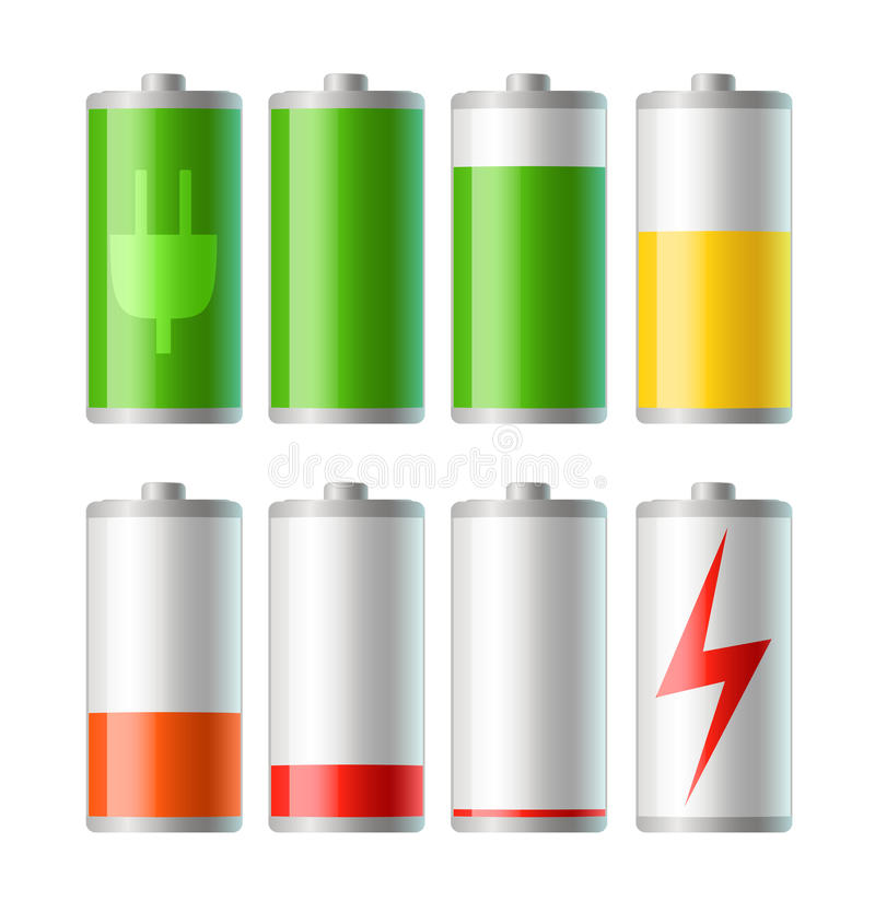 Vector battery icons with level of charge. Set of battery icons with level of charge vector illustration