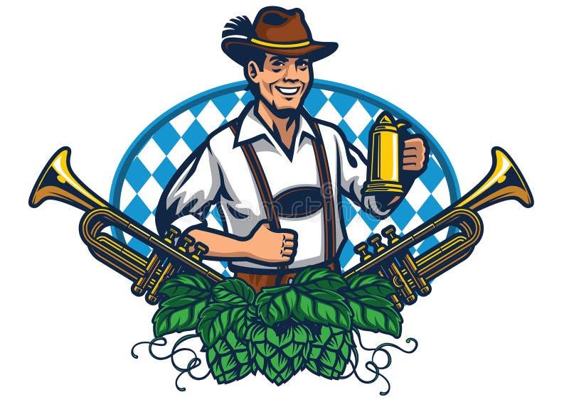 Bavarian man badge for oktoberfest. Vector of bavarian man badge for oktoberfest royalty free illustration