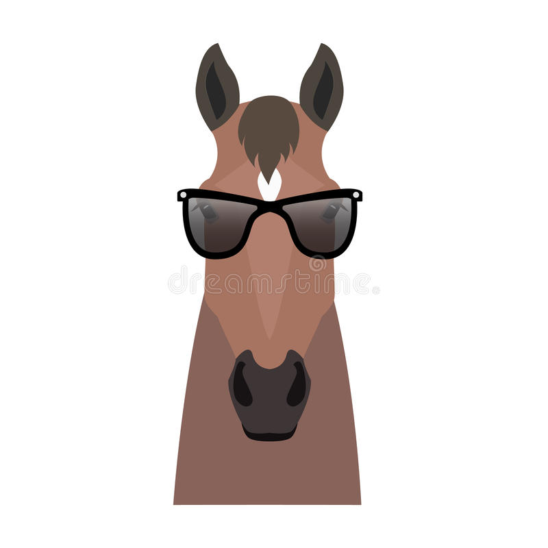 Vector bay brown color flat style horse head in sunglasses royalty free illustration