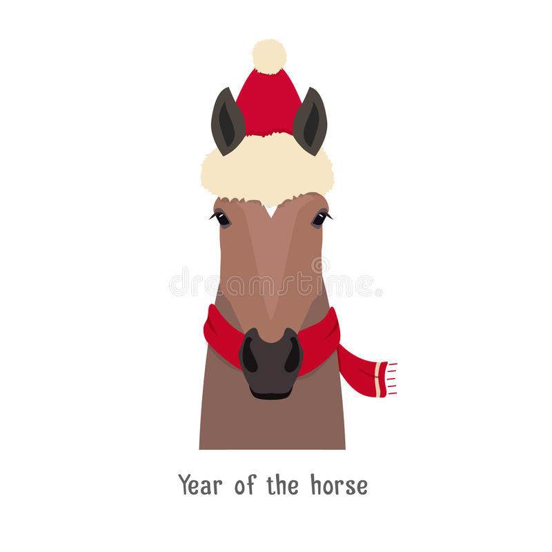 Vector bay brown horse head. christmas red hat and scarf royalty free illustration