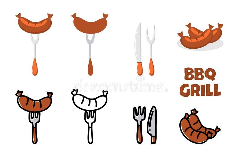 Vector BBQ grill set of icons - grilled sausage on fork, fork and knife and hand drawn letters BBQ Grill in flat style vector illustration