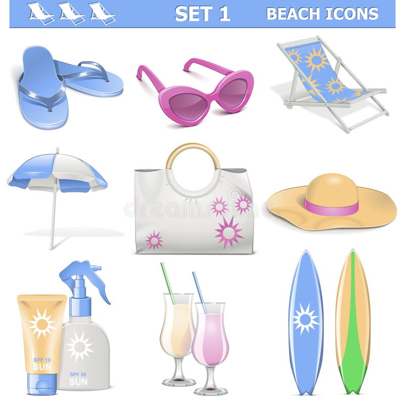Free Vector Beach Icons Set 1 Stock Images - 35617514