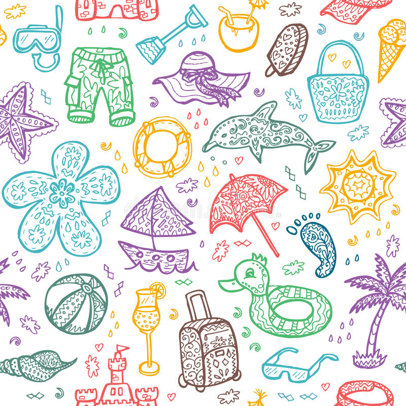 Vector Beach Pattern Summer Stock Illustration Download Leisure Event 62464841
