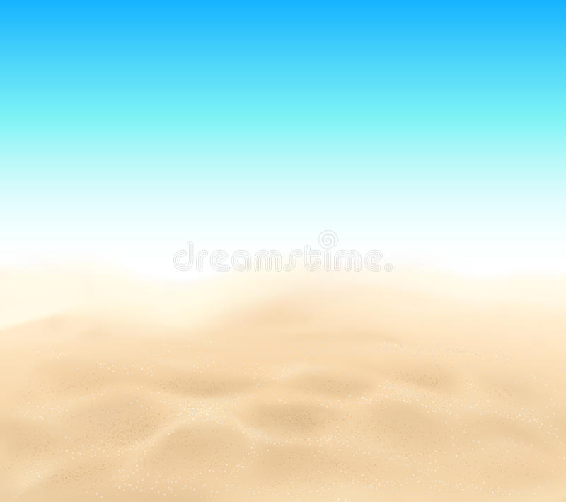 Sand Beach In Summer Sky Background: Blue Vector Curly Waves Seamless Pattern Stock Vector