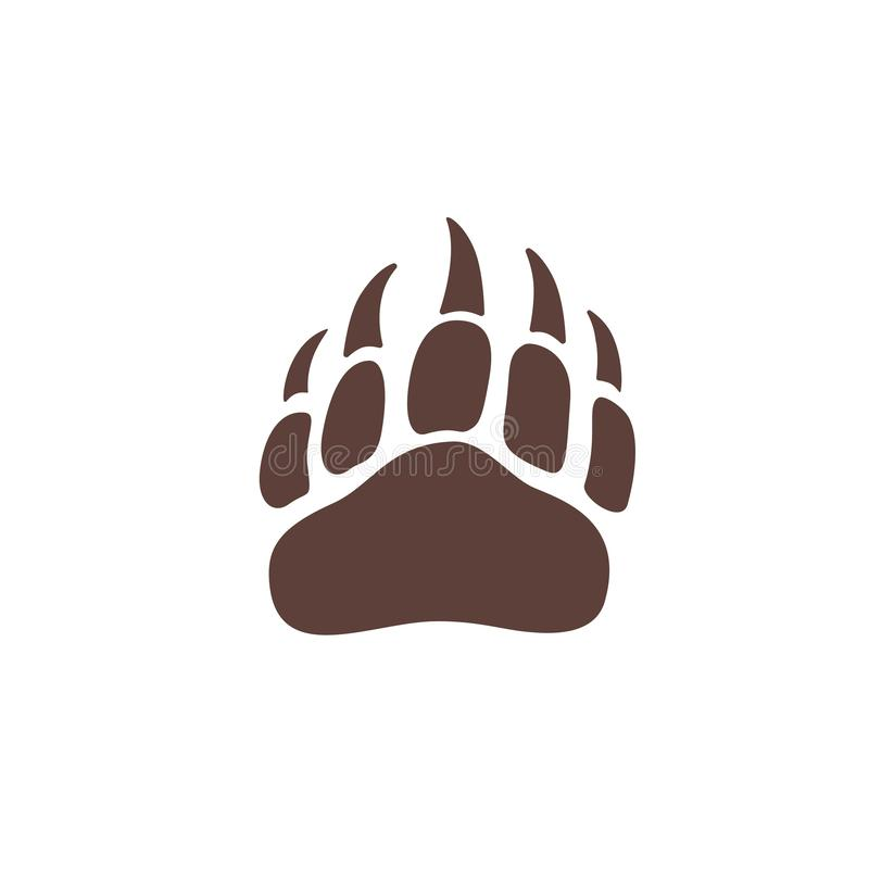 Vector bear paw footstep silhouette for logo, icon, poster, banner. Wild animal paw print with claws. The trail of bear, imprint. Wildlife story, problems of vector illustration
