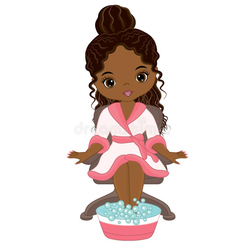 Vector Beautiful African American Girl Taking Spa Treatment stock illustration