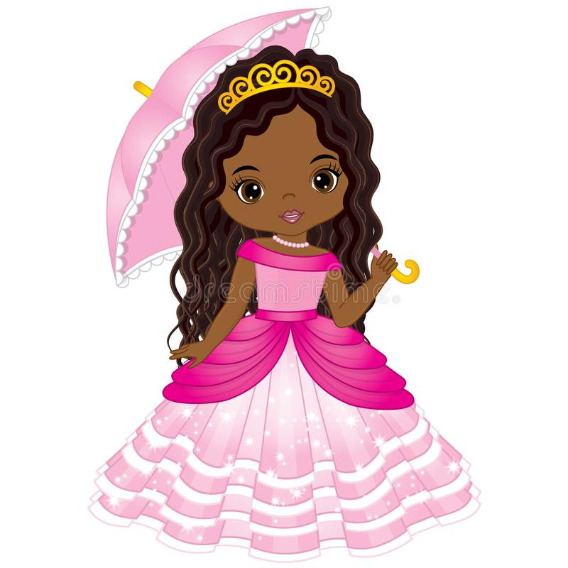 Vector Beautiful African American Princess in Pink Dress royalty free illustration