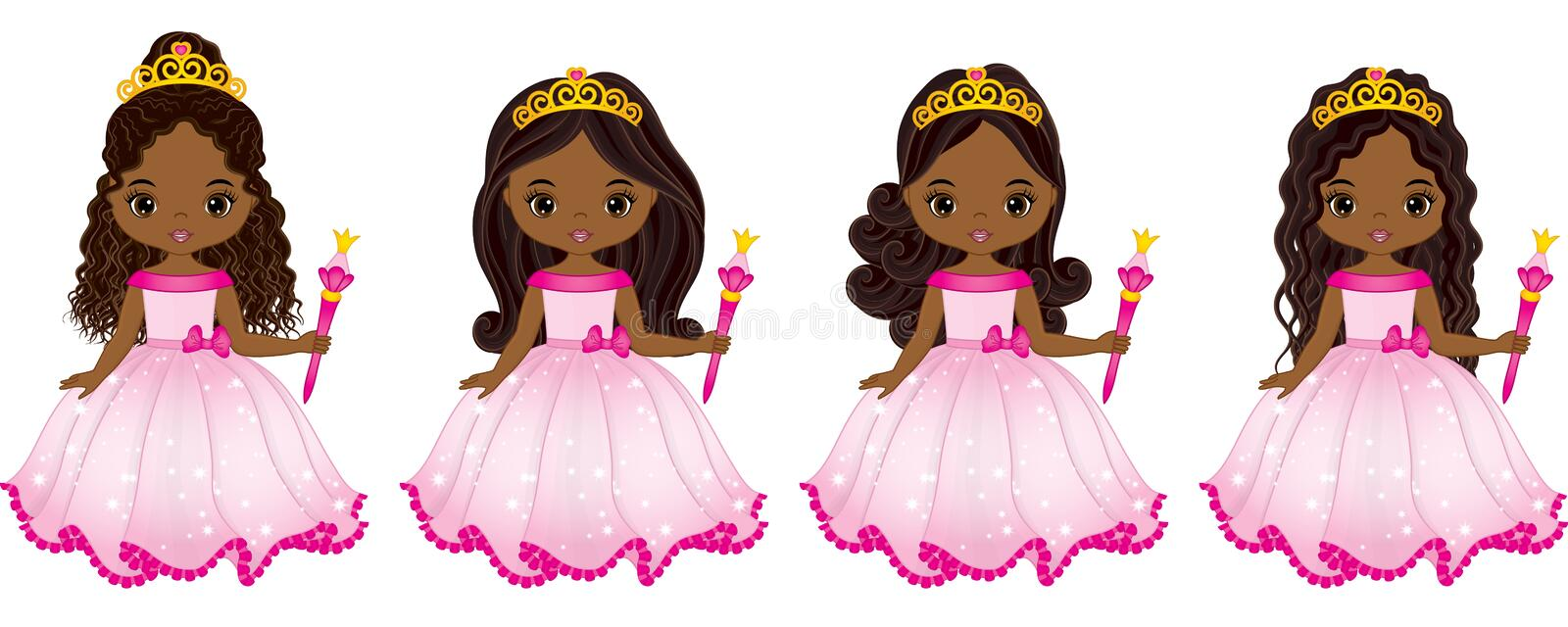 Vector Beautiful African American Princesses with Various Hairstyles stock illustration