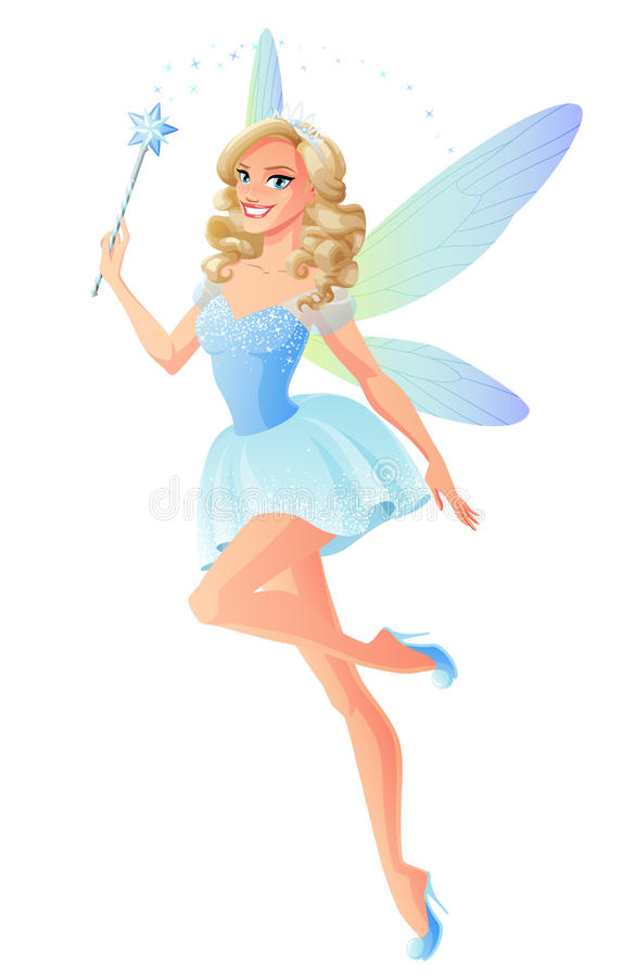 Free Vector Beautiful Blue Fairy With Magic Wand And Dragonfly Wings. Stock Photography - 85042712