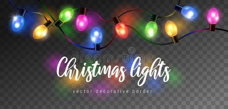 Vector beautiful colorful shining christmas lights garland isolated on dark background - decorative border vector illustration