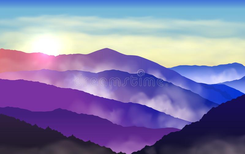 Vector beautiful colorful silhouettes of misty mountains with sun and clouds in the sky vector illustration