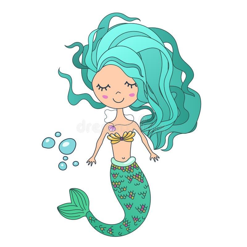 Vector Beautiful cute little siren mermaid. Hand drawn illustration. royalty free illustration