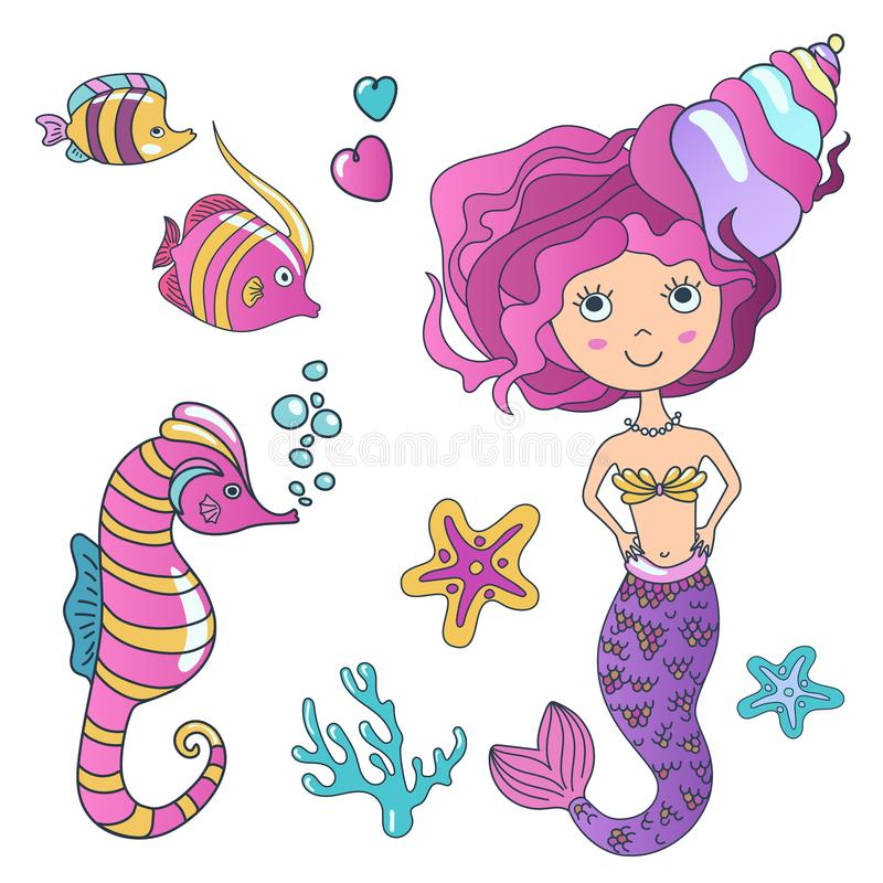 Vector Beautiful cute little siren mermaid with sea horse hippocampus, tropic fish and sea stars. Hand drawn royalty free illustration