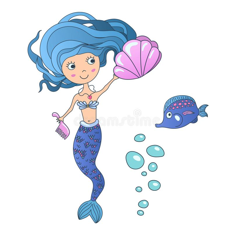 Vector Beautiful cute little siren mermaid with sea shell and tropic fish. Hand drawn illustration. royalty free illustration