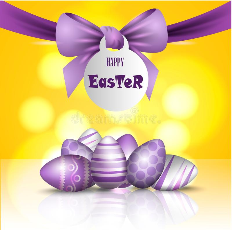 Vector beautiful 3d illustration. Painted eggs and bow in resurrection of Christ. Easter holiday, royalty free illustration