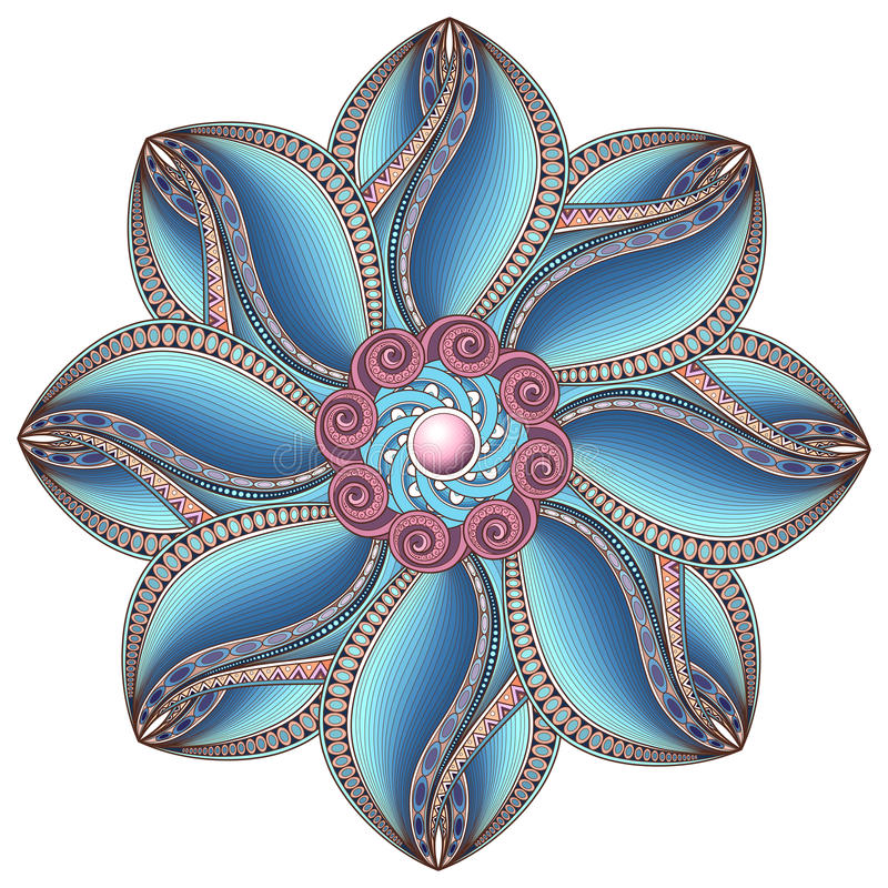 Vector Beautiful Deco Colored Contour Mandala royalty free illustration