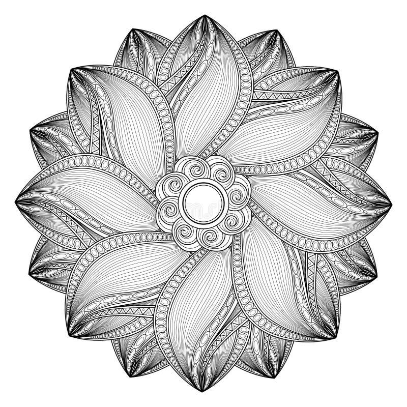 Free Vector Beautiful Deco Monochrome Contour Mandal Stock Image - 96159061