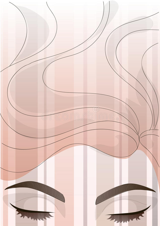 Vector beautiful eye with correction of eyebrows and hair background. Background or illustration for articles on the correction, make-up and care for the stock illustration