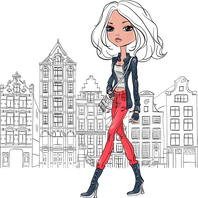Vector beautiful fashion girl in Amsterdam stock photos