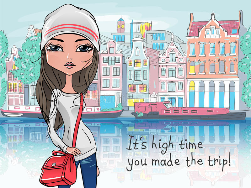 Vector beautiful fashion girl in Amsterdam stock photography