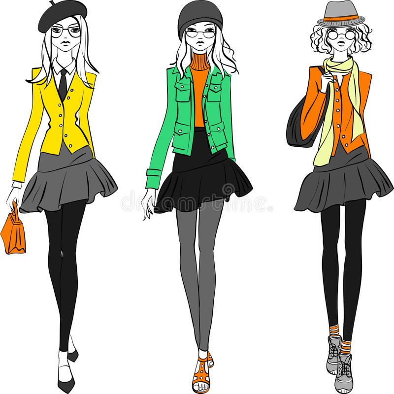 Vector beautiful fashion girls top models stock photos