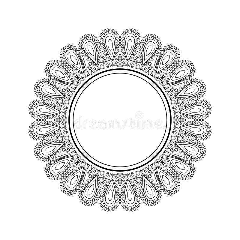 Vector beautiful frame with place for text. Black and white mandala pattern with ethnic indian ornament royalty free illustration
